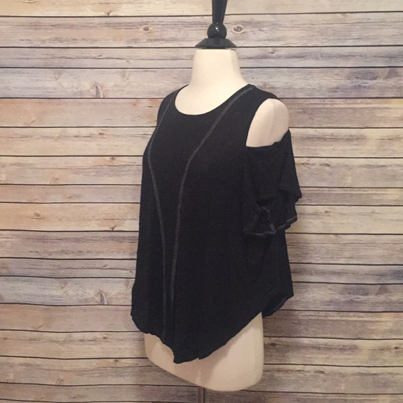 2ec1318eac586a Free People Tops - Free People We the Free Black Cold Shoulder Top